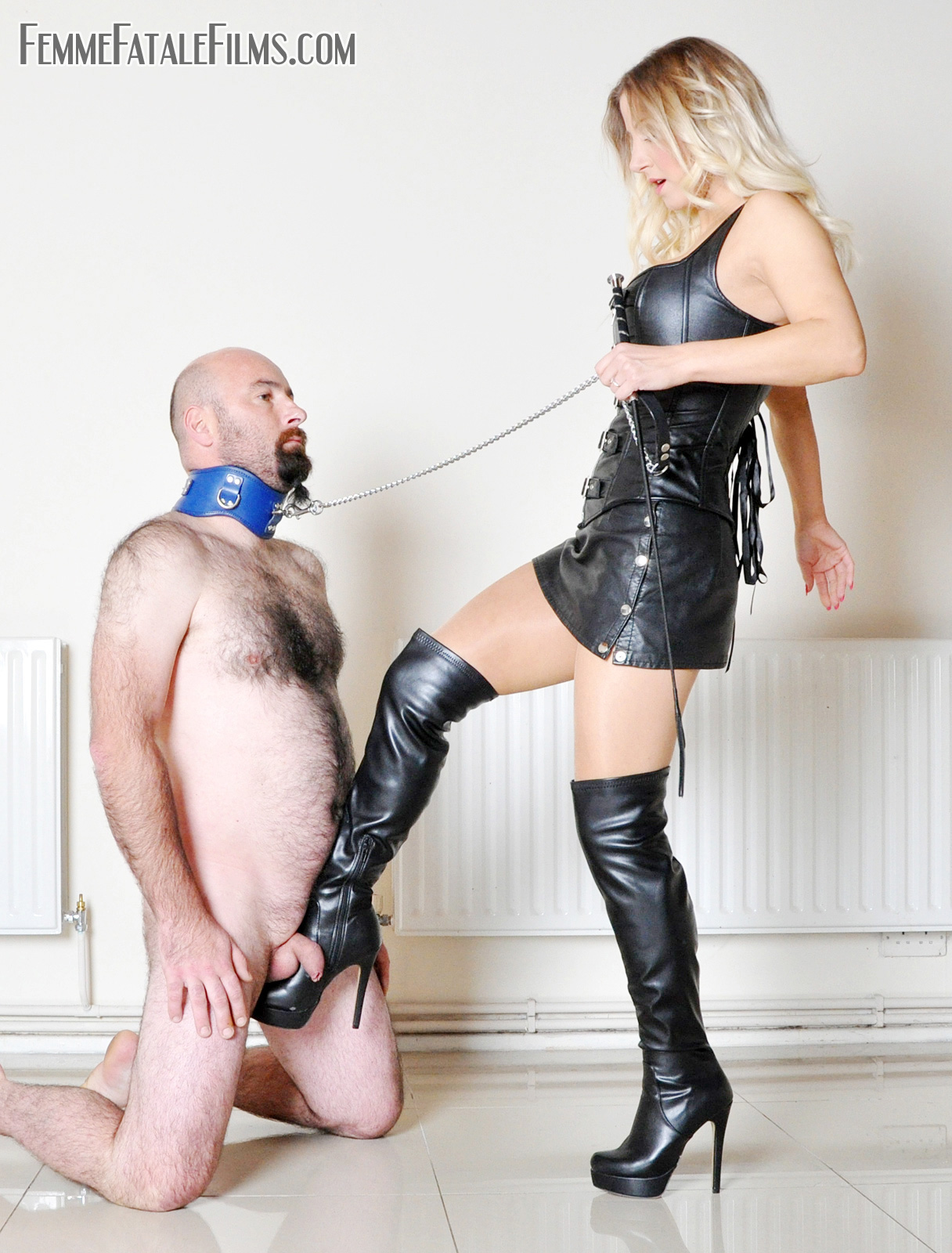 Blonde Milf in leather mini dress and boots