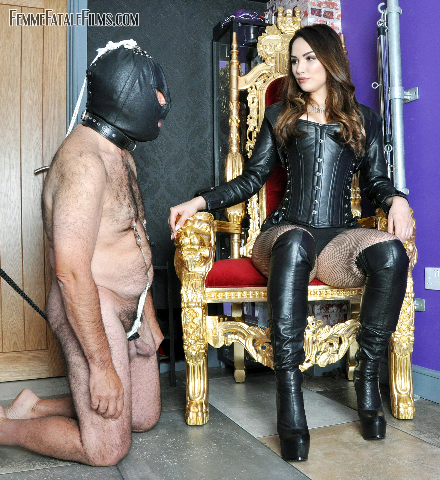 Mistress in boots gives CBT